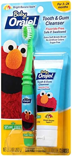 512XlE3cA4L. AC - Orajel Elmo Fluoride-Free Tooth & Gum Cleanser 1.0 Oz. With Toothbrush, Banana Apple, 1 Oz.
