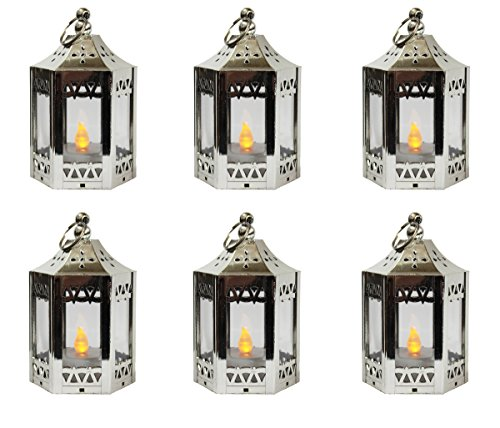 Silver Mini Light (6pc Mini Silver Candle Lanterns with Flickering LED Tea Light Candle, Batteries Included)