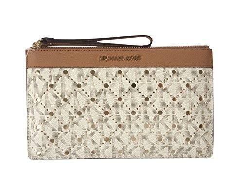 Michael Kors Violet Signature Jet Set Travel Large Perforated Zip Clutch & Wristlet (Vanilla / Pale Gold) by Michael Kors