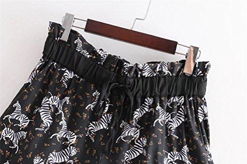 Pantaloncini con l'estate tempo chic Donna per libero stampa stampato il Nero Elastico per FuweiEncore UwTqHRn