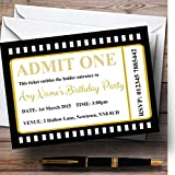 Movie Ticket Black Personalized Birthday Party Invitations