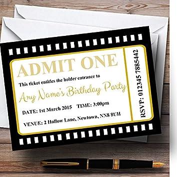 movie ticket black personalized birthday party invitations