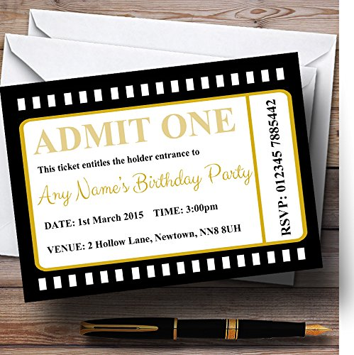 Movie Ticket Invitation (Movie Ticket Black Personalized Birthday Party Invitations)