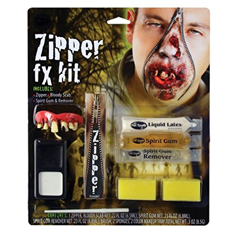 Zombie Zipper Kit With Zip, Liquid Latex, Spirit Gum & Remover Halloween Make-Up ()