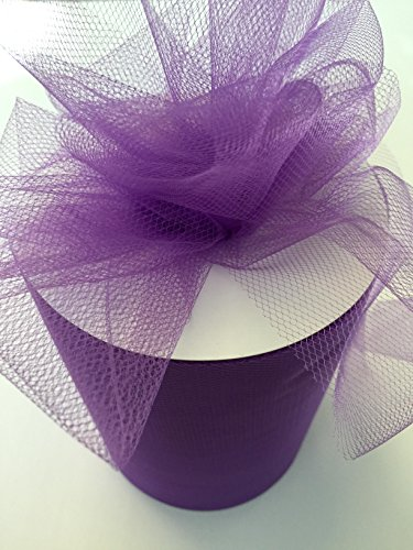 (Tulle Fabric Spool/Roll 6 inch x 100 yards (300 feet), 34 Colors Available, On Sale Now! (purple))