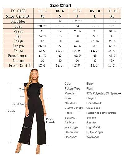 0056462b36ce Romwe Women's Sexy Casual Sleeveless Ruffle Trim Wide Leg High Waist Long  Jumpsuit Black XS