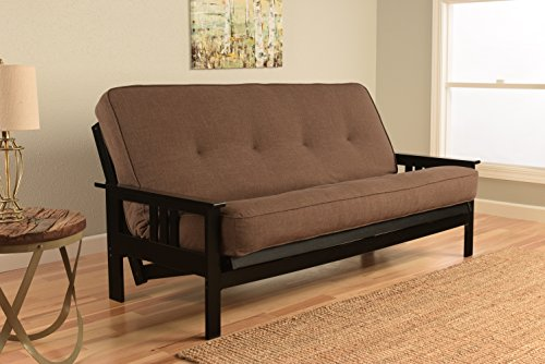 Kodiak Furniture KFMOBKLCOCLF5MD3 Monterey Futon Set with Black Finish, Full, Linen Cocoa (Cocoa Full Sleeper)