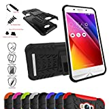 ZenFone Max Case,Mama Mouth Shockproof Heavy Duty Combo Hybrid Rugged Dual Layer Grip Cover with Kickstand For Asus ZenFone Max ZC550KL Smartphone(With 4 in 1 Free Gift Packaged),Black