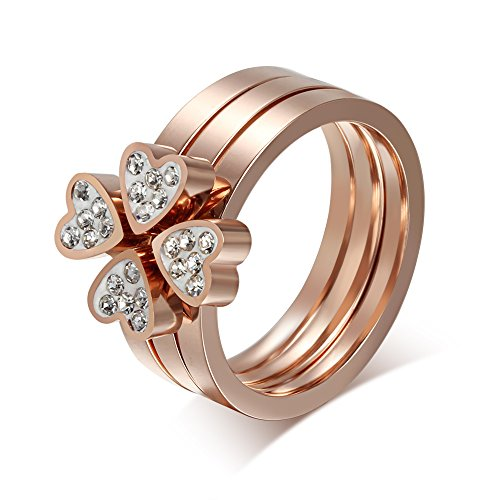 Stainless Steel Rhinestone Love Heart Four-Leaf Lucky Clover Ring for Women,3 in 1,Rose Gold