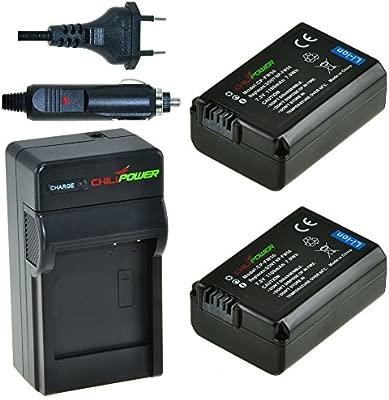 2x Batería + Cargador ChiliPower Sony NP-FW50 1100mAh para Sony Alpha 7, a7, Alpha 7R, a7R, Alpha a3000, Alpha a5000, Alpha a6000, NEX-3, NEX-3N, ...