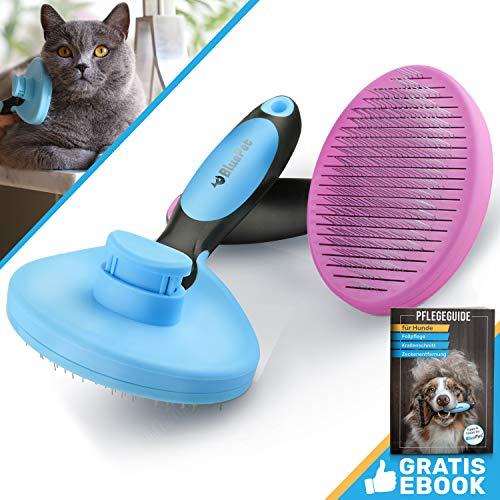 Bluepet ZupfZeug Katzenbürste Selbstreinigend | Zupfbürste entfernt Unterwolle | Hundebürste OneSize