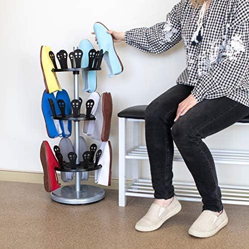 Tatkraft ROLL Rotating Shoe Rack, 3 Tier Shoe Rack Carousel with Solid Base, Revolving Shoe Rack, 18 Pairs, 31 X 86 X 31cm, Steel and Plastic