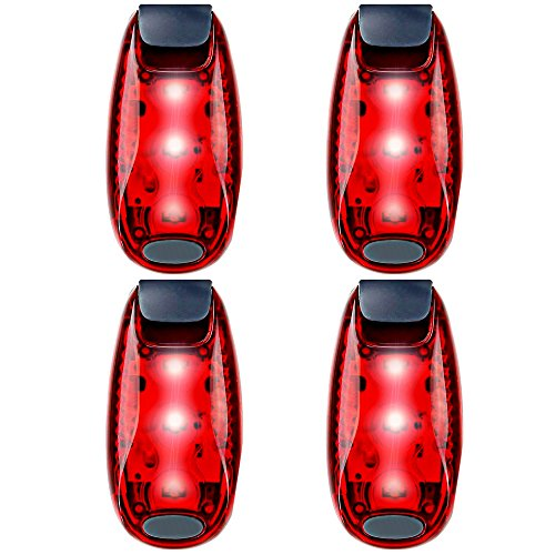 UMISHI 3 Modes LED Safety Lights 4 Packs Clip on Strobe Running Cycling Dog Collar Bike Tail Warning Light High Visibility Accessories for Reflective Gear