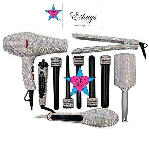 AB IRIDESCENT Custom Crystal Blow Dryer Bedazzled Flat Iron Bling Curling Wand Crystallized Hair Styling Tool Kit Set