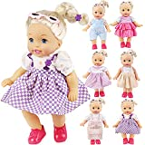 KYToy 6PCS Fits 12'' 13'' 14'' 15'' Bitty Baby Alive Doll Clothes 360°Sewing American Girl Dolls Dresses Handmade Skirts Outfits Realistic Daily Costumes Gown Set