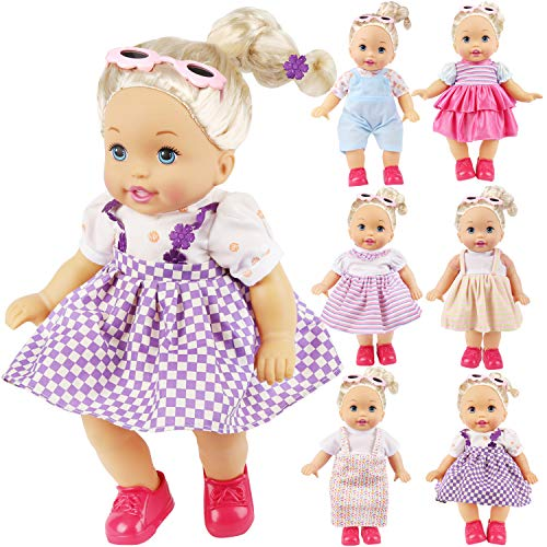 14' Baby Doll Clothes - KYToy 6PCS Fits 12'' 13'' 14'' 15'' Bitty Baby Alive Doll Clothes 360°Sewing American Girl Dolls Dresses Handmade Skirts Outfits Realistic Daily Costumes Gown Set