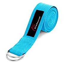 ProSource Metal D-Ring Yoga Strap 2.4m (8') Durable Cotton for Stretching and Flexibility