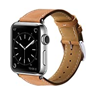 Apple watch band, 42mm Marge Plus Genuine Leather iwatch strap Replacement Band with Stainless Metal Clasp for apple watch Series 2, Series 1, Sport, Edition, Brown