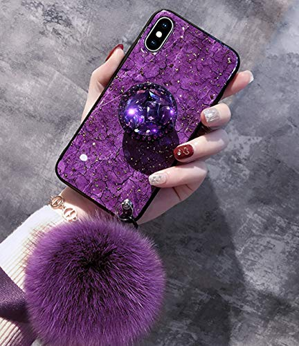 VANVENE iPhone case, Fashion INS Purple Rhinestone Marble Stripe iPhone Case with Hair Ball Lanyard and Bracket (iPhone ()