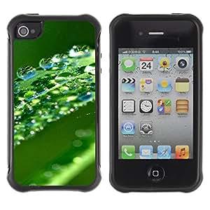Pulsar Defender Series Tpu silicona Carcasa Funda Case para Apple iPhone 4 / iPhone 4S , Green Water Drop Leaf