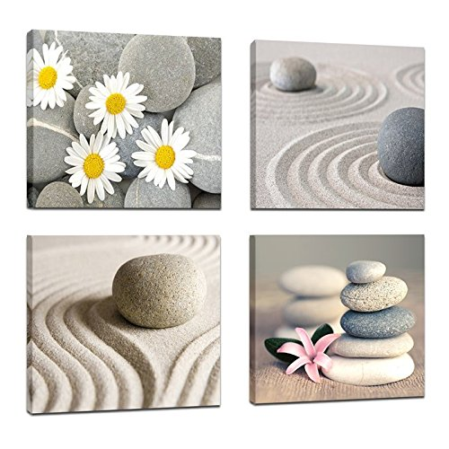 4 Panels Balance Stones Flowers Painting Artwork Modern for sale  Delivered anywhere in USA