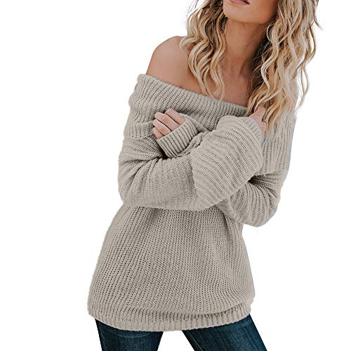 Youngh Womens Blouses Off The Shoulder Solid Loose Long Sleeve Knitted Casual Pullover Sweater Shirt Tops