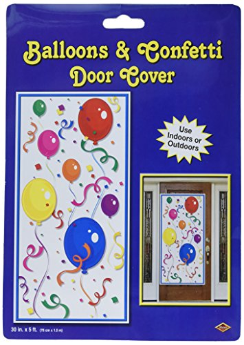 Beistle 50108 Balloons and Confetti Door Cover, 30-Inch by 5-Feet
