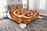 Lunarable Ancient China Bedspread Set Queen Size, Career Luck Symbol with Oriental Pattern Wishing Wealth Prosperity Theme, Decorative Quilted 3 Piece Coverlet Set with 2 Pillow Shams, Red Yellow