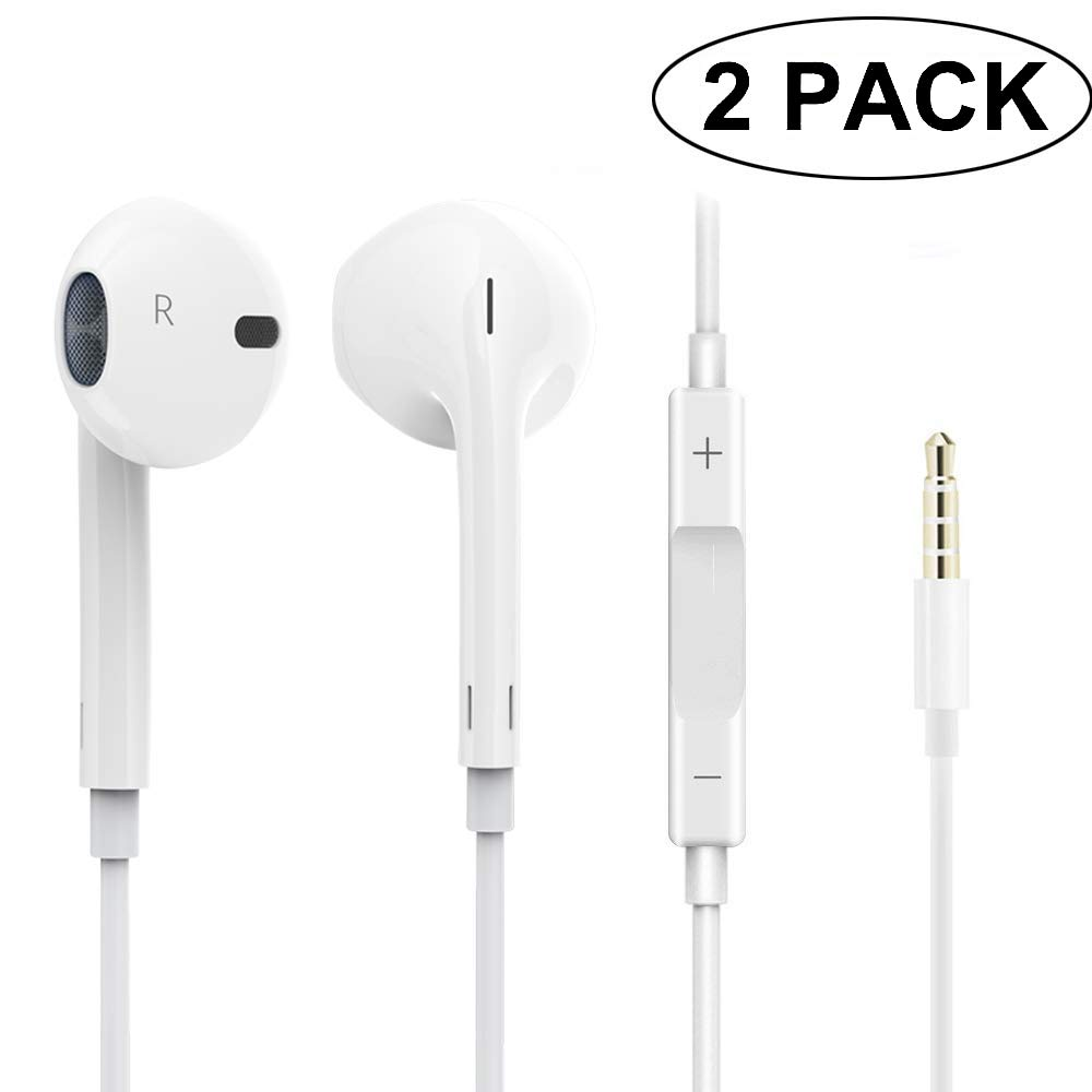 2 Pack Earphones Headphones 3.5mm Earbuds with Mic,Android Earphone Noise Isolating with Volume Control