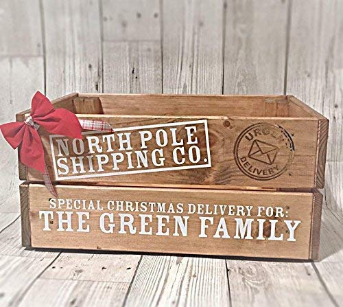 Christmas Eve Crate.Personalised Solid Pine White Text Christmas Christmas Eve