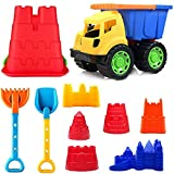 Liberty Imports Kids Beach Toys Sand Castle Mold Building Kit with Big 12 inches Dump Truck Bucket (10 Pieces)