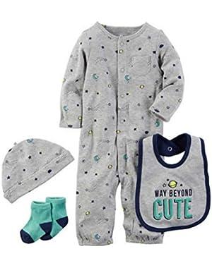 Carters Preemie Baby Boy Clothes Bib Sleeper Socks 4pc