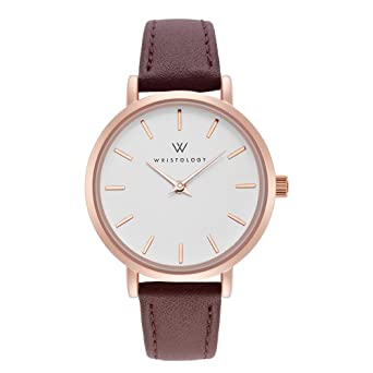 30729c45bb8 Image Unavailable. Image not available for. Color  WRISTOLOGY Charlotte  Petite Womens Watch Rose Gold Metal Brown Leather Ladies Changeable Strap  Band