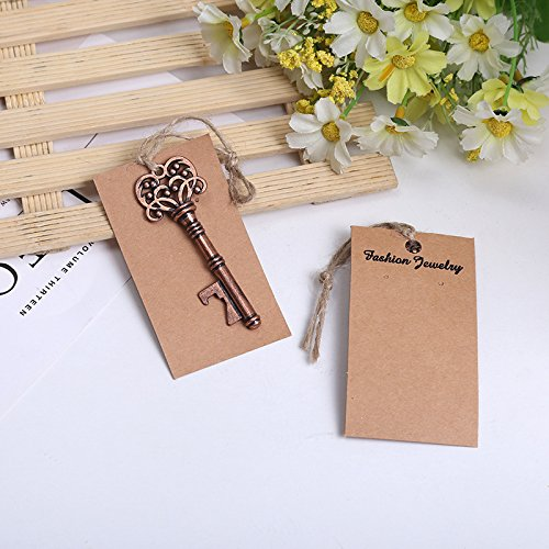 Youkwer 24PCS Skeleton Key Bottle Opener with Escort Tag Card for Wedding Party Favors & Decorations (Antique Copper)