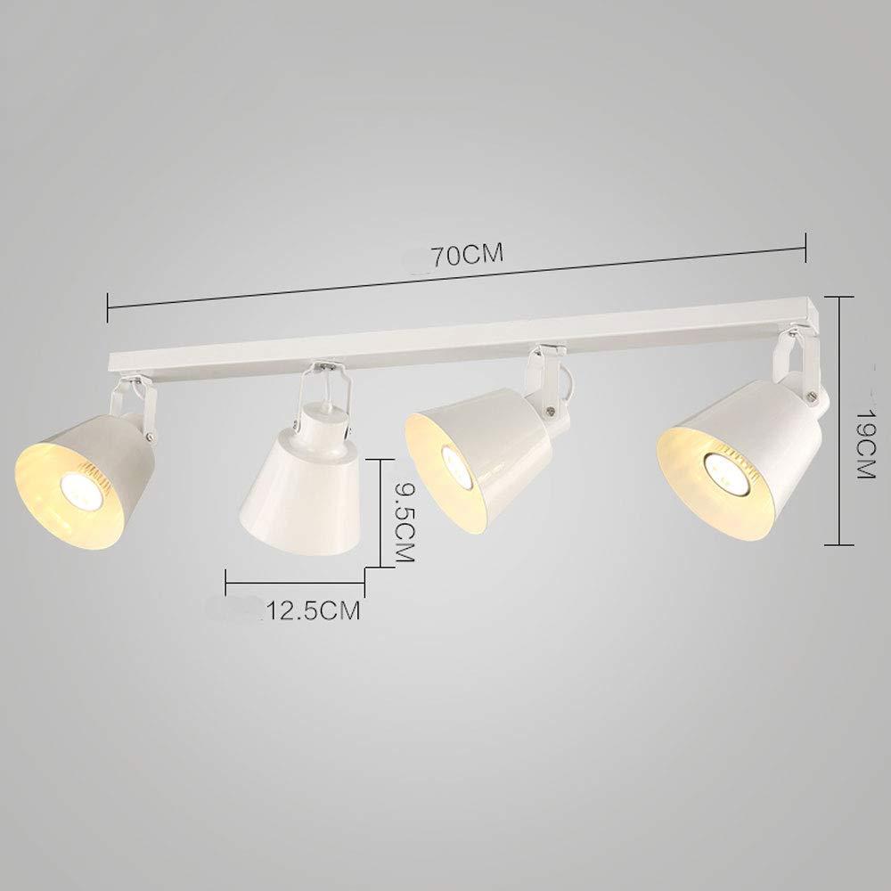 ZJⓇ Spotlight Track Light - 4 Light Rail Kit Light Bar, Vintage Chandelier - 98cm - Black/White - 5W/10W && (Color : White, Size : 98cm)