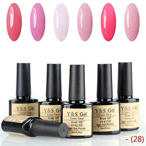 Y&S Perfect Match Colors Gel Polish 6 PCS 10ml 0.33oz UV/LED Soak Off Nail Lacquers French Manicure Starter Kits (Kit 28 Pcs Match)