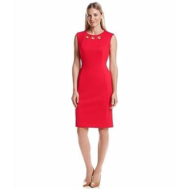 d02d55b2270df Image Unavailable. Image not available for. Color  Calvin Klein Women s  Grommet Neckline Ponte Sheath Dress ...