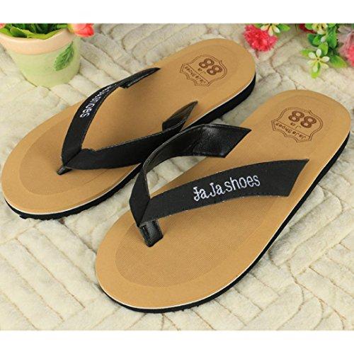 Voberry® Fahion Men Flip-flops Slippers Beach Sandals Thong Flip-Flop Black wzC77C