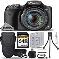 Canon PowerShot SX530 HS Digital Camera Black + 64GB SDHC CLASS 10 MEMORY CARD + Backup Battery + Card Reader + Mini Tripod + Carrying Case. All Original Accessories Included - International Version