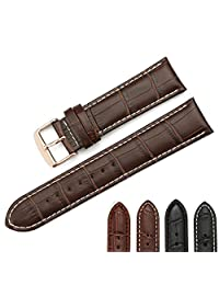 iStrap 22mm Genuine Leather Watch Band Alligator Grain Rose Gold Tang Buckle Padded - Brown