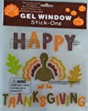 Thanksgiving Gel Window Clings - Traditional Thanksgiving Turkey with Happy Thanksgiving Saying (1 Pack)