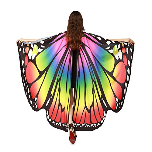 LERFEY Prop Soft Fabric Butterfly Wings Shawl Fairy Nymph Pixie Costume Accessory, Rainbow, 168x135CM