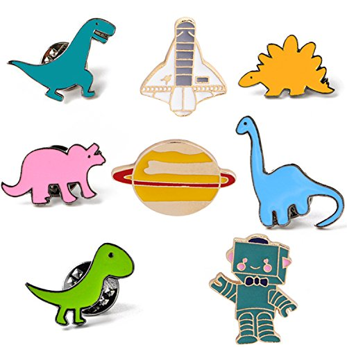 Brooch Pin Free Ship (JoinLove Cute Cartoon Brooch Pins Enamel Dinosaur Spaceship Brooches for Boys Clothing Bags Decroations)