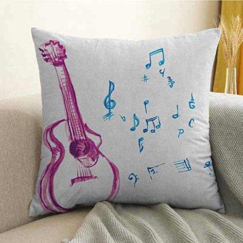 Guitar Bedding Soft Pillowcase Watercolor Musical Instrument with Notes Sheet Elements Brush Stroke Effect Hypoallergenic Pillowcase W20 x L20 Inch Magenta Blue White