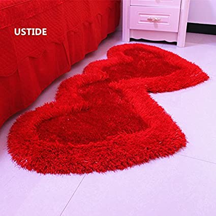 Fantastic Amazon.com: Ustide Red Heart Shaped Carpet High Pile Shag Rug  GP31