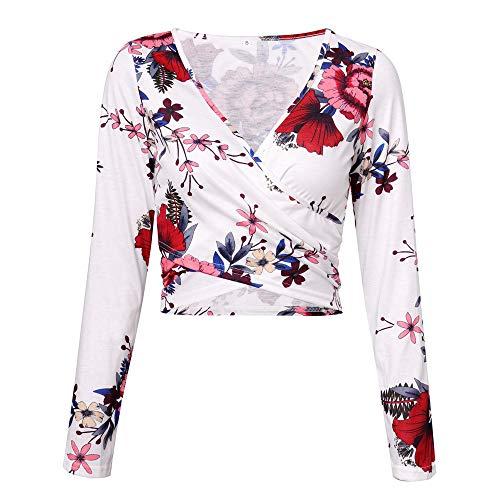 Sexy Neck 1 Blanc envelopp V Coffre Blouse Chic Haut Longue et Mode t Automne Vetements Top Impression Manches OVERMAL Shirt Chemise Croix Vrac Dcontracte en T Femmes Sweatshirts Lombaire AwdOPP