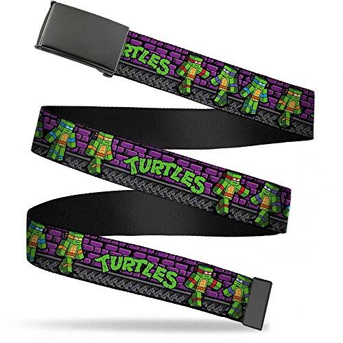 - Buckle-Down Big Web Belt Ninja Turtles, Classic Tmnt Block Turtle Poses Purple/Grays, 1.0