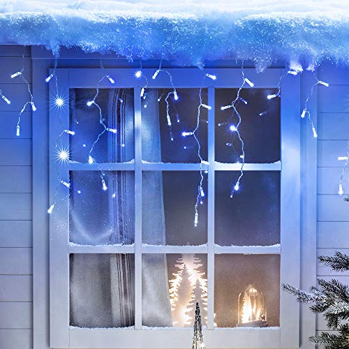 Blue And White Icicle Outdoor Christmas Lights in US - 2