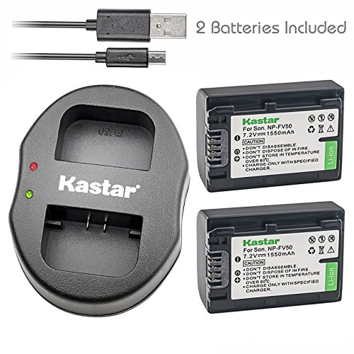 Kastar Battery X2 & Dual USB Charger for Sony NP-FV30 NP-FV40 NP-FV50 and HDR-CX130 HDR-CX180 HDR-CX190 HDR-CX220 HDR-CX230 HDR-TD30 HDR-XR260 HDR-XR350 HDR-XR550 FDR-AX100 FDR-AX700 FDR-AX33 FDR-AX53 by Kastar