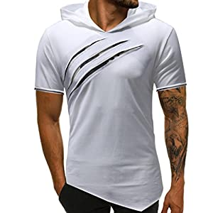 GREFER Men's Tee Fashion Personality Pure Color Hoodie Sport Short Sleeve Shirt Tops